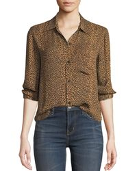 Current/Elliott - The Derby Leopard-print Button-down Top - Lyst