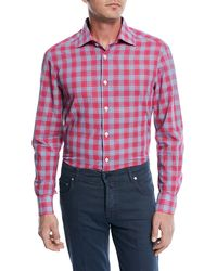 Kiton - Cotton/linen Plaid Sport Shirt - Lyst