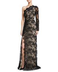 Monique Lhuillier - One-shoulder Front Slit Floral Lace Gown - Lyst
