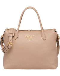 97566855ccf0 Lyst - Prada Daino Small Leather Double Bag in Blue