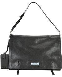 4c5915735bf8 Prada - Etiquette Large Glace Calf Leather Shoulder Bag - Lyst