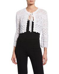 Carolina Herrera - 3/4-sleeve Tie-front Macrame Knit Cardigan With Bow - Lyst