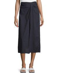 Vince - Twist-front A-line Midi Cotton Skirt - Lyst