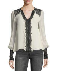 Nanette Lepore   Henrietta Split-neck Silk Blouse W/ Lace   Lyst