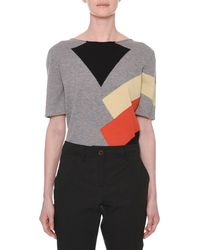 Tomas Maier - Short-sleeve Multicolor Colorblock Cashmere Knit Sweater - Lyst