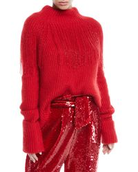 Sally Lapointe - Mock-neck Long-sleeve Beaded-fringe Mohair-blend Sweater - Lyst