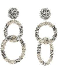 Oscar de la Renta - Two Hoop Beaded Earrings - Lyst