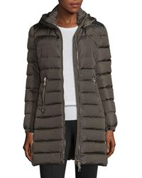 Moncler | Orophin Long Puffer Coat W/leather Trim | Lyst