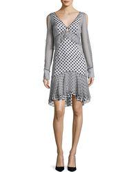 J. Mendel - Long-sleeve Mixed Polka-dot Dress - Lyst