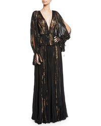 J. Mendel - V-neck Metallic-floral Slit-sleeve Gown - Lyst
