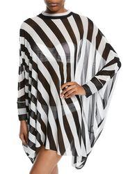 Norma Kamali - Turtle Striped Mesh Poncho - Lyst