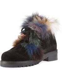Stuart Weitzman - Furwalla Fur-trim Hiker Boot - Lyst
