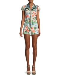 Alice + Olivia - Macall Short-sleeve Floral-print Romper - Lyst