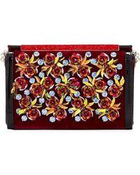 Christian Louboutin - Vanite Rose-embellished Velvet Clutch Bag - Lyst