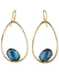 Ippolita - 18k Rock Candy Tipped Oval Wire Earrings In London Blue Topaz - Lyst