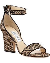 51b9afde19fd Lyst - Jimmy Choo Edina Etched Cork Ankle-wrap Sandal in Natural