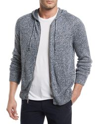 Vince - Marled-knit Linen Front-zip Hoodie - Lyst
