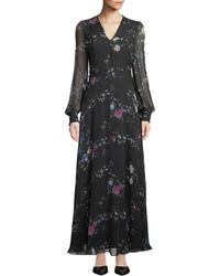 Equipment - Clemense V-neck Long-sleeve Floral-print Silk Maxi Dress - Lyst