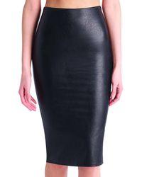 Commando - Black Faux Midi Leather Skirt - Lyst