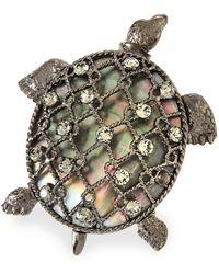 Oscar de la Renta - Turtle Brooch W/ Crystals - Lyst