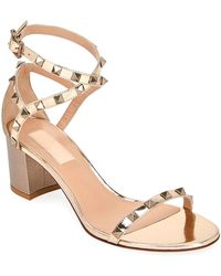157d76fb4 Valentino Camel Suede Rockstud Ankle Strap Sandal in Natural - Lyst