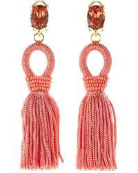 Oscar de la Renta - Short Silk Tassel Clip-on Earrings - Lyst