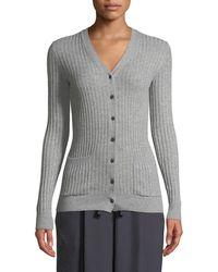 Vince - Rib Skinny Cashmere Cardigan Sweater - Lyst