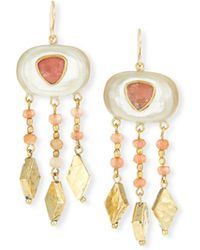Ashley Pittman - Horn & Bronze Dangle Earrings With Rose Quartz & Pink Sandstone - Lyst