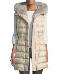 Pologeorgis - Quilted Hooded Sport Puffer Vest W/ Fur Lining - Lyst