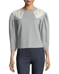 Rebecca Taylor | Crewneck Pouf-sleeve Cotton Sweatshirt W/ Lace | Lyst