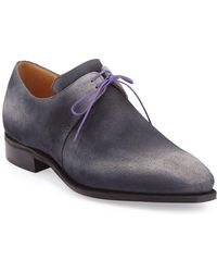 439ce58b4a4 Corthay - Arca Suede Derby Shoe With Flint Patina   Purple Piping - Lyst