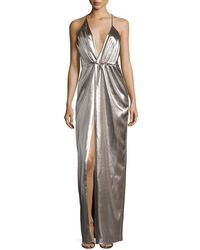 Halston - Plunging Halter-neck Asymmetric Metallic Evening Gown - Lyst