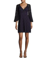 Nanette Lepore - Bell-sleeve Floral Lace Mini Dress - Lyst