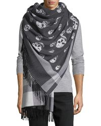 Alexander McQueen - Large Skull Wool-cashmere Shawl - Lyst
