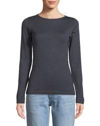 Brunello Cucinelli - Boat-neck Long-sleeve Metallic-knit Pullover - Lyst