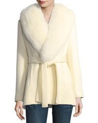 Fleurette - Textured Knit Belted Wrap Coat W/ Fox Fur Trim - Lyst