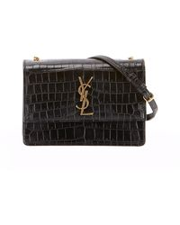 Saint Laurent - Monogram Ysl Sunset Small Chain Croco Shoulder Bag - Lyst f94e8a92077ba