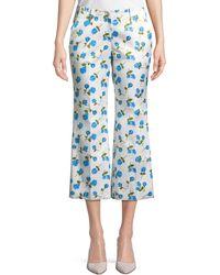 Michael Kors - Scattered Rose-print Flared-leg Duchess Satin Crop Trousers - Lyst