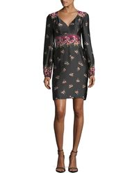 Nanette Lepore - Dotted Satin Floral Border-print Long-sleeve Day Dress - Lyst