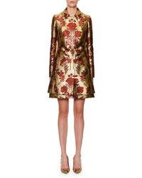 Dolce & Gabbana - Metallic Floral-jacquard Button-front Coat - Lyst