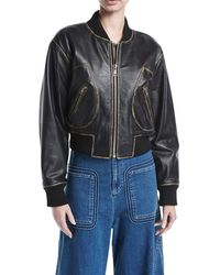 See By Chloé - Zip-front Long-sleeve Leather Jacket - Lyst