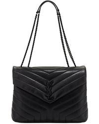 7941a6247f8c1 Saint Laurent - Monogram Loulou Medium Chain Bag With Noir Hardware - Lyst