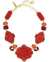Oscar de la Renta - Floral Carved Resin Necklace - Lyst