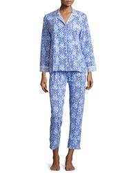 Oscar de la Renta - Blue Tile Printed Jersey Pajama Set - Lyst