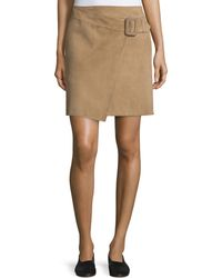 Vince - Belted Suede Skirt - Lyst