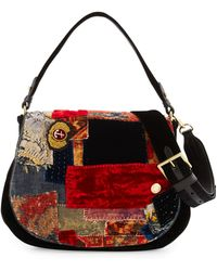 Pink Pony - Embroidered Patchwork Crossbody Hobo Bag - Lyst