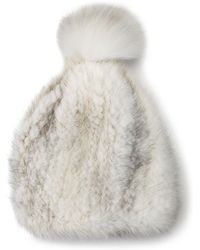 La Fiorentina - Mink & Fox Fur Pompom Beanie Hat - Lyst