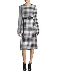 CALVIN KLEIN 205W39NYC - Mixed-plaid Long-sleeve Dress - Lyst