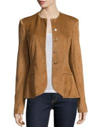 Pink Pony - Button-front Suede Peplum Jacket - Lyst