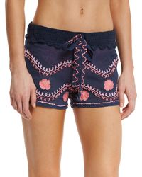 Letarte - Embroidered Beach Shorts - Lyst